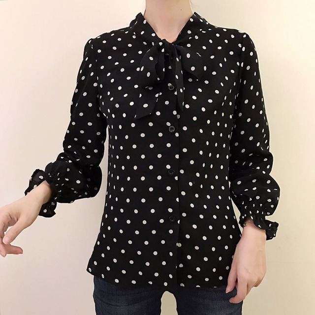 Spring Polka Dot Print Chiffon Blouses Women Lace-up Bow Office Elegant Shirts Tops Long Sleeve V-neck Blusas Mujer DD2614 5