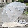 Популярный прочный прозрачный зонт с длинной ручкой  полуавтоматический портативный зонт для девушек  солнечный  дождливый  полиэфирный