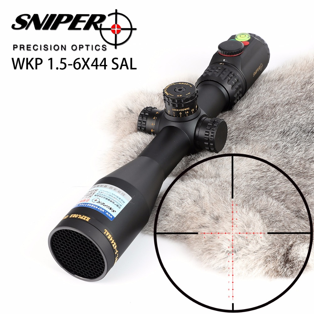 SNIPER WKP 1.5-6X44 SAL Hunting Rifle Scope Side Parallax Adjustment Glass Etched Reticle RG Illuminated With Bubble Level