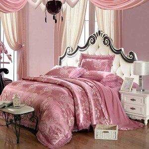 Image 5 - 4pcs Green Jacquard silk bedding set queen king Luxury Satin quilt/duvet/comforter cover bed linen bedclothes set home textile