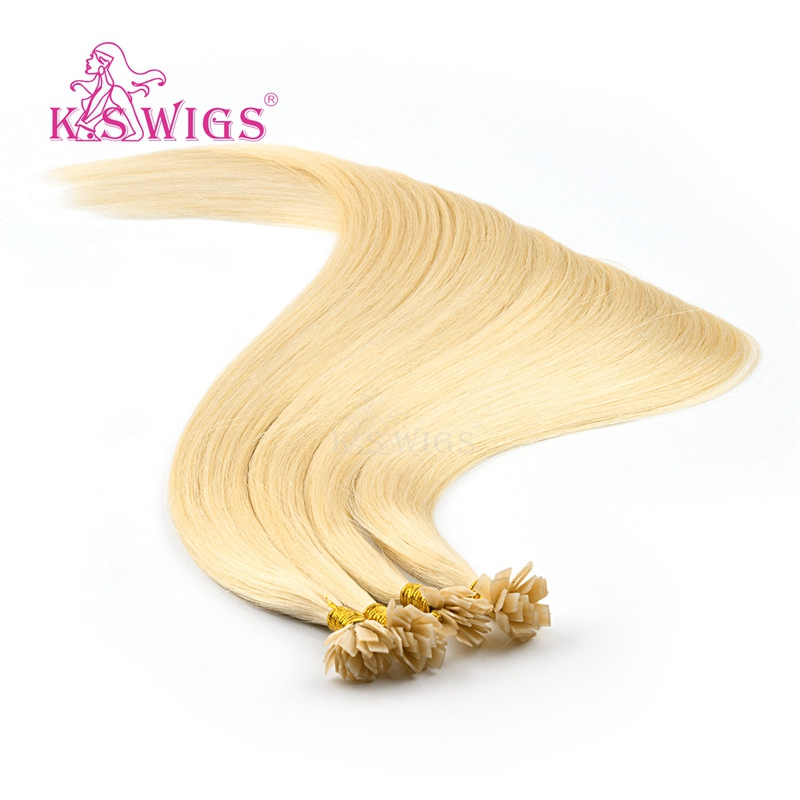 K.S Wigs 1g/s 24'' Straight Double Drawn Pre Bonded Flat Tip Remy Human Hair Extensions Capsules Keratin Fusion Hair