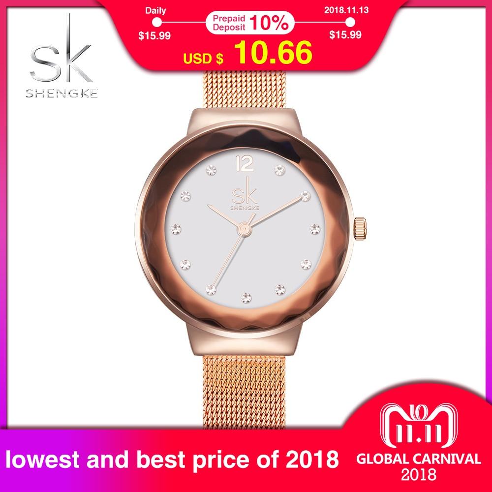 все цены на SK New Fashion Women Watches Stainless Steel Silver Wrist Watches Luxury Ladies Rhinestones Clock Quartz Watch 2017 Montre Femme