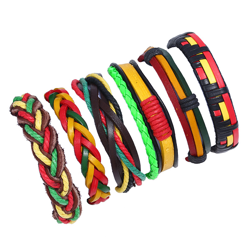 Handmade Colorful Leather Braided Fashion Bracelet DIY Style Europe Hot Selling 2018 New Mens Jewelry