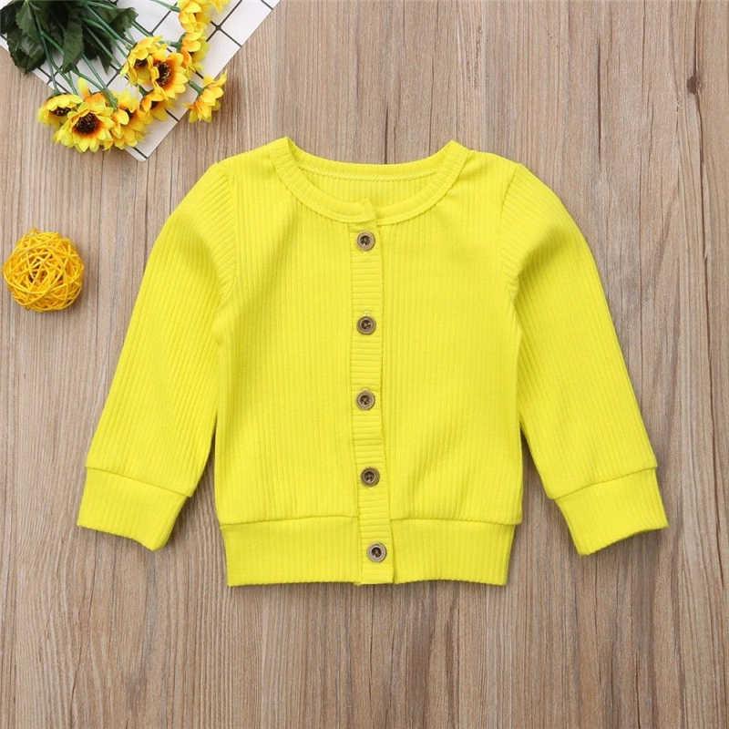 패션 걸스 코트 신생아 아기 소녀 옷 소녀 긴 소매 코트 버튼 니트 탑스 스웨터 카디건 탑 겨울 베이비 자켓