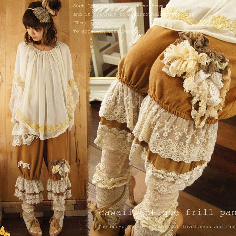 Harajuku Mori Girl Flower Appliques Lace Pants Women Wide Leg Loose Cotton Linen Ruffle Female Kawaii