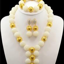 Модные африканские бусы комплект ювелирных изделий Whhite бусинами невесты ювелирные изделия золото-в нигерийском стиле Свадебные африканские бусы Ювелирные наборы