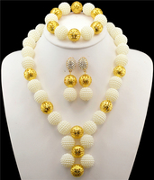 Fashion African beads jewelry set whhite beads bride jewelry gold color nigerian wedding african beads jewelry sets