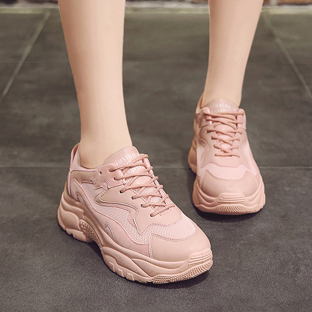 Women's Chunky Sneakers 2019 Fashion Women Platform Shoes Lace Up Pink Vulcanize Shoes Womens Female Trainers Dad Shoes 1