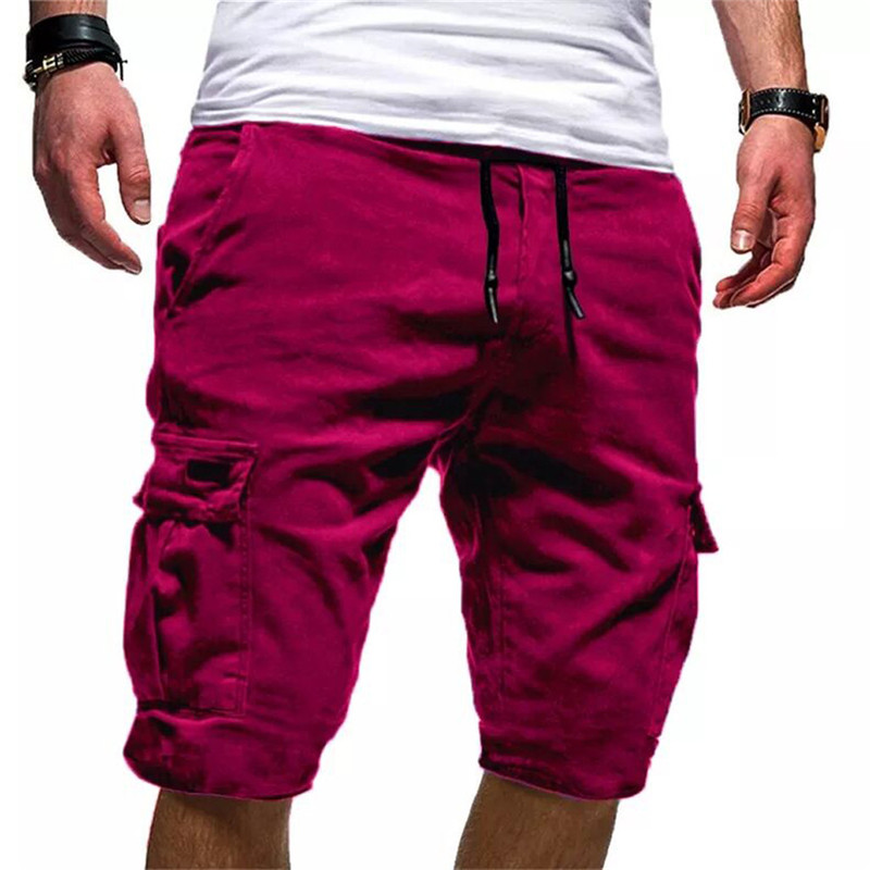 Men's Sport Pure Color Bandage Casual Loose Sweatpants Drawstring Shorts Pant training shorts #2L11(China)