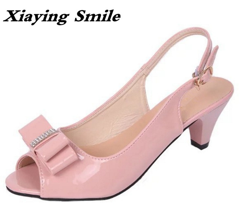 Xiaying Smile New Summer Woman Sandals Spike Heels Women Pumps Bowtie Buckle Shoes Casual Ladies Sweet Candy Colors Women Shoes xiaying smile summer woman sandals fashion women pumps square cover heel buckle strap bling casual concise student women shoes