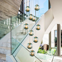 Art deco hanging home dining room decorating long foyer staircase modern hand blown glass chandelier light for high ceilings