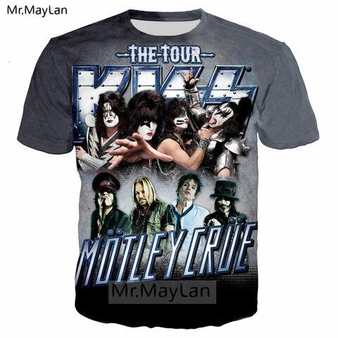 Pop Heavy Glam Metal Motley Crue n KISS Band 3D Print T shirt Men/women Hard Rock Streetwear T-shirt Man Tie Dye Tshirt Clothes Pakistan