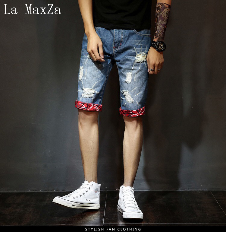 High Quality Ripped Denim Short Men Jeans Straight Pants Men Jeans Trousers Homme