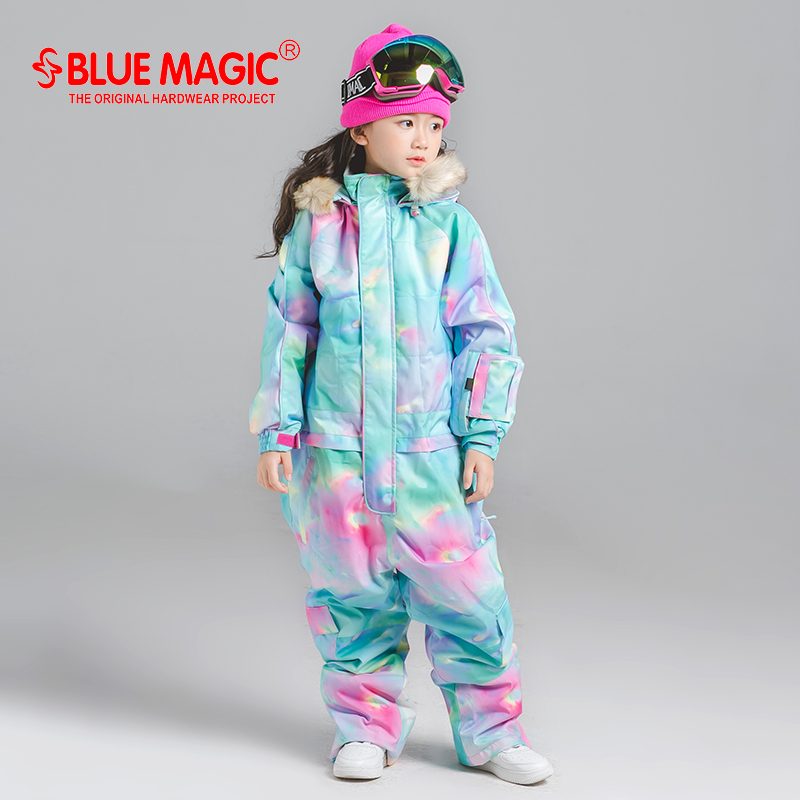 Купить с кэшбэком 19 ski suits bluemagic for kids waterproof outdoor jumpsuit girls boys snowboard jacket waterproof  Skiing overall  -30Degrees