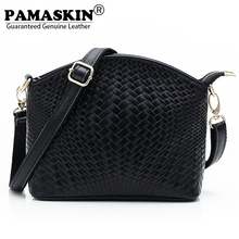 PAMASKIN 2017 Genuine Leather Female Cross-body Bag Fashion Knitting Embossed Female Flap Brand Designer Women Messenger Bags