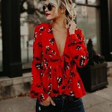 2018 Summer deep v neck blouse for women Elegant flower printed peplum tops Sexy puff sleeve ruffles blouse shirts femme top
