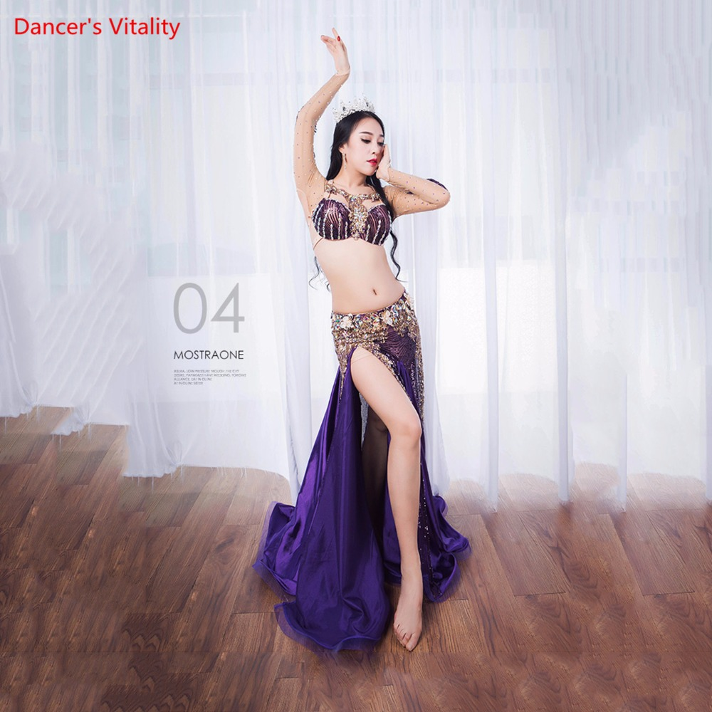 Women Belly Professional Dancing Costumes Ladies 2018 NEW Dance Dresses Belly Dance Luxury Bra + Long Skirt 2Pcs / Set Suit