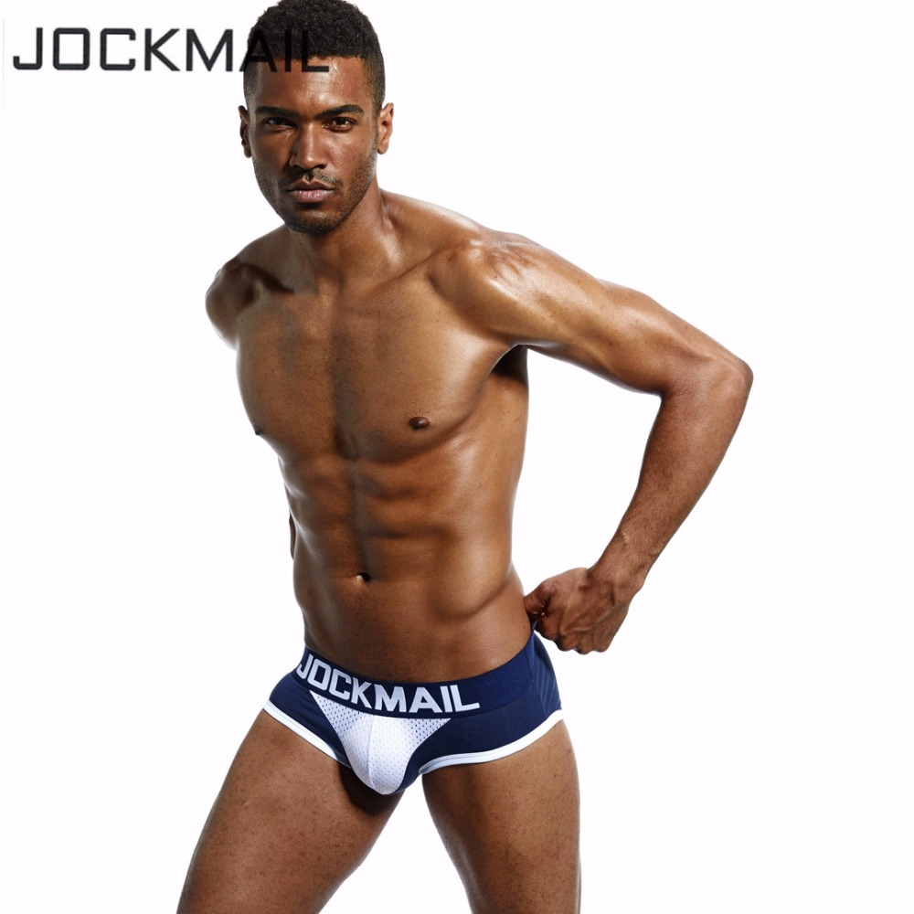 JOCKMAIL brand Cotton Men Underwear Briefs U convex cup breathable Nylon mesh slip homme sexy cuecas gay panties Briefs Bikini