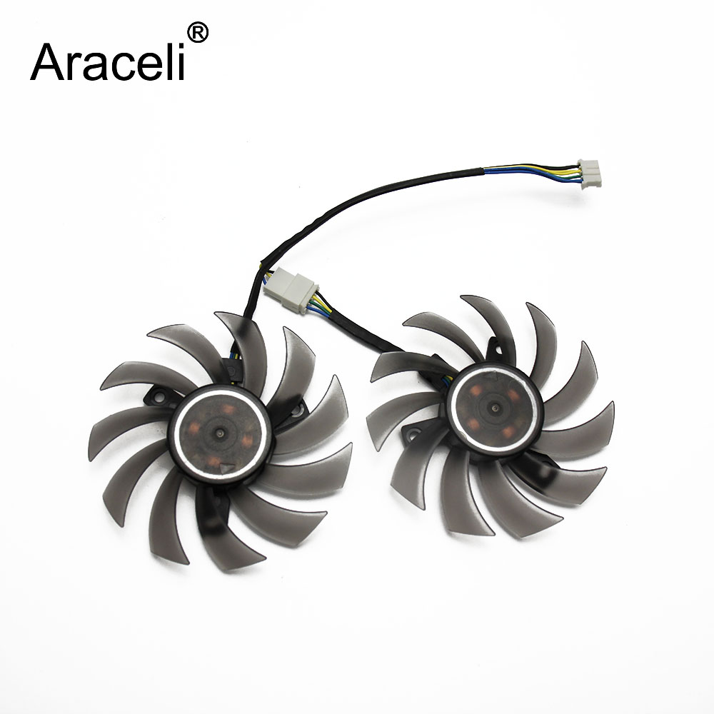 2pcs/lot PLD08010S12H Cooler Fan For ASUS MSI <font><b>GTX</b></font> 1050 <font><b>TI</b></font> Radeon Sapphire 6930 7850 <font><b>GTX</b></font> <font><b>550</b></font> 750 770 <font><b>Ti</b></font> HD7870 Video Card Cooling image