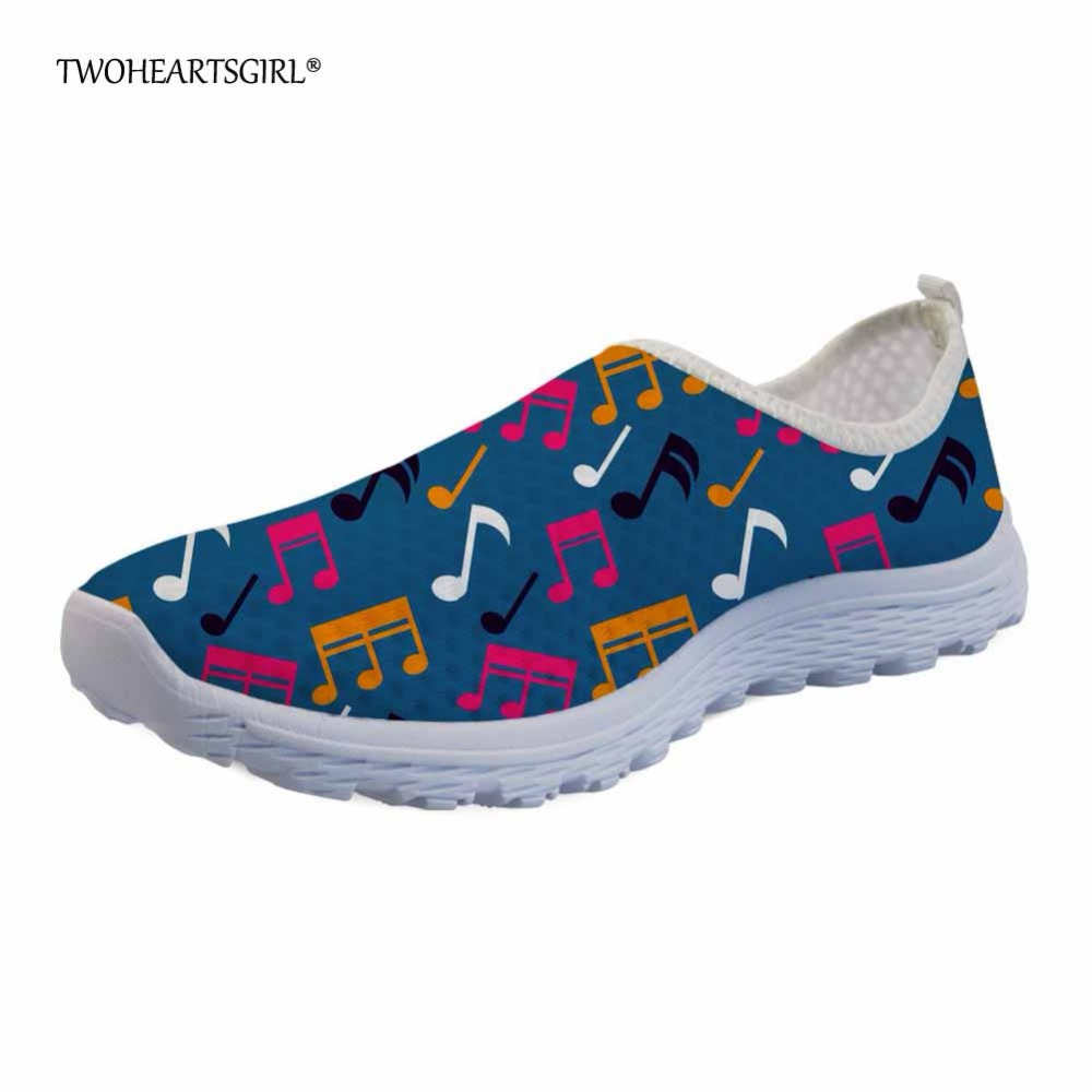Twoheartsgirl Colorful Music Notes Pattern Summer Flats Casual Women Shoes Breathable Female Ladies Mesh Shoes Slip-on Sneakers instantarts women flats emoji face smile pattern summer air mesh beach flat shoes for youth girls mujer casual light sneakers