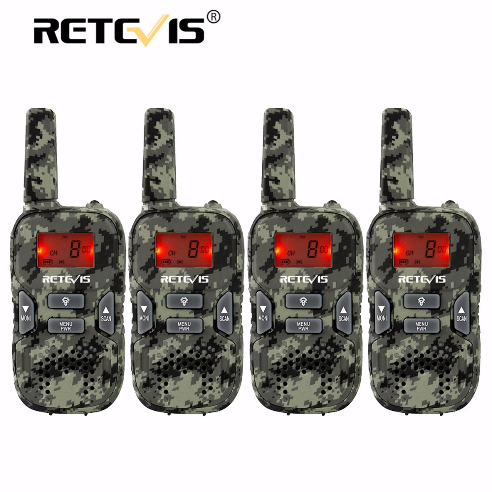 4 pcs Camouflage Mini Talkie Walkie Enfants Radio Retevis RT33 8CH 0.5 W PMR446 VOX LCD Affichage USB De Charge Deux-sens Amateur Radio