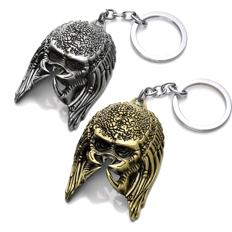 Hot movie <font><b>Alien</b></font> vs Predator Keychain Alloy <font><b>Alien</b></font> Mask Metal Key Rings Toys For Action Figure Men Gifts Toys image