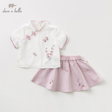 DB11647 Dave bella summer baby girl clothing sets cute floral children suits  infant high quality clothes flowers girls outfit