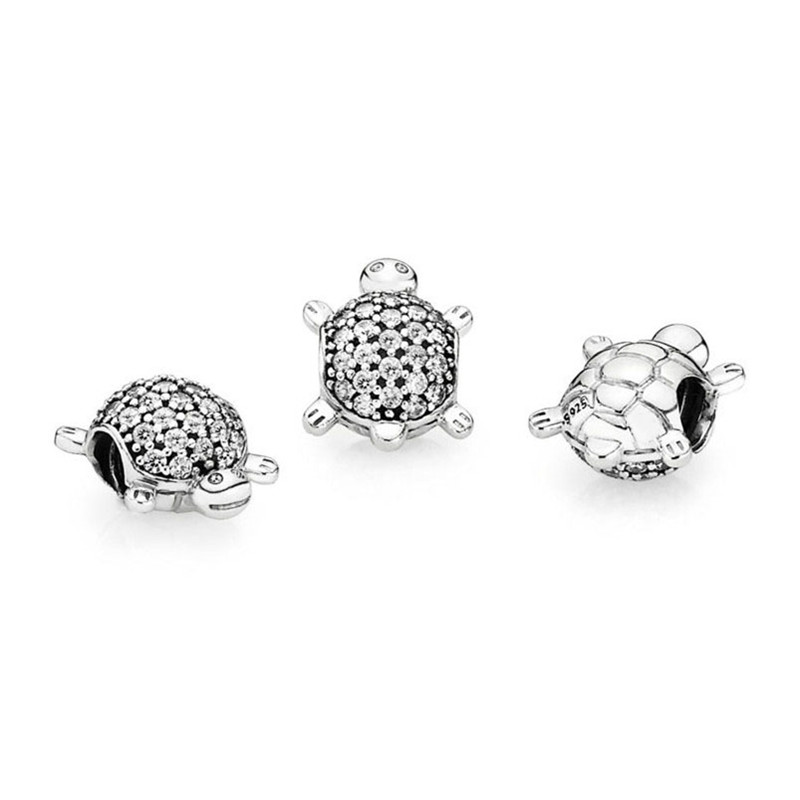 Authentic 925 Sterling Silver Bead Sparkling Sea Turtle Charm Fit Original Pandora Bracelets Bangles Women DIY Jewelry Gift in Beads from Jewelry Accessories