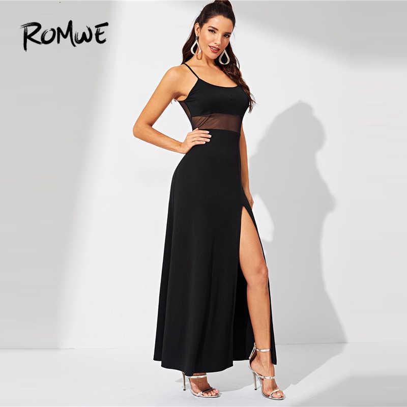 3d42570c386bc ... ROMWE Split Solid Cami Dress 2019 Chic Black Sleeveless Bodycon Slim Dress  Women Sexy Summer Spaghetti ...
