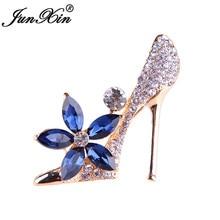 JUNXIN Vintage Shoes broches de cristal azul grande para mujeres traje Collar broche para vestido Rhinestone flor roja broche Pins joyería