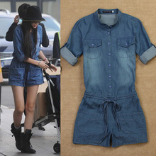 XANNEY Denim Short Overalls Elastic Waist 2016 Summer Jumpsuits Rompers Casual Jeans Coverall Womens Jeans Shirt