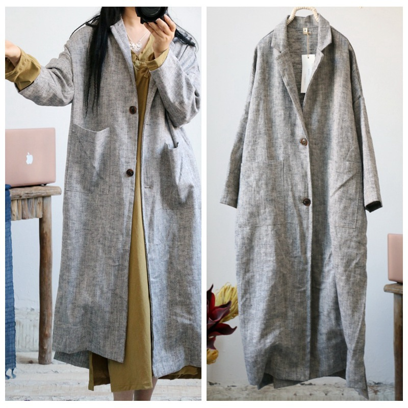 Women Retro Linen Thick Linen Trench Coat Outwear Ladies Autumn Spring Overcoat Long Coat Female Vintage