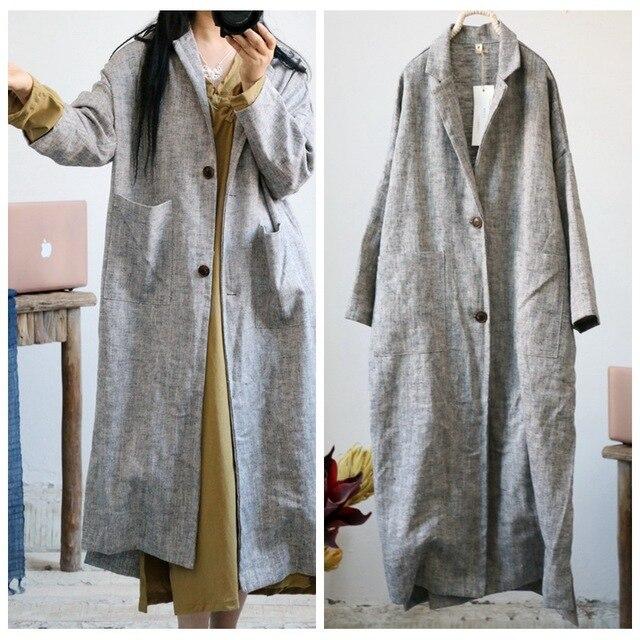 Gabardina de lino grueso Retro para mujer, ropa de cama, prendas de vestir, abrigo largo Vintage de lino, otoño y primavera, 2018