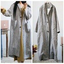 Trench da donna in lino spesso retrò in lino capispalla cappotto da donna autunno primavera cappotto lungo cappotto di lino Vintage femminile 2021