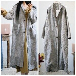 Image 1 - Women Retro Linen Thick Linen Trench Coat Outwear Ladies Autumn Spring Overcoat Long Coat Female Vintage Flax Coat 2018
