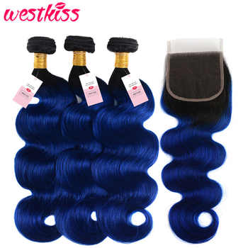 West Kiss Blue Hair 3 Bundles With Closure Dark Roots Two Tone Ombre Brazilian Body Wave Human Hair Weft With Lace Closure Remy - SALE ITEM Hair Extensions & Wigs