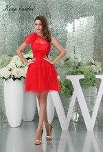2017 Sexy Red Tüll Ein Schulter A Line Short Homecoming Kleid Tiered Rüschen Mini Cocktailkleider Design Einfache Parteikleider