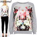 Super Fashion Casual Crewneck Long Sleeve Sudaderas Mujer Pullover Floral Printed Sweatshirt For Women Grey Free Shipping c14