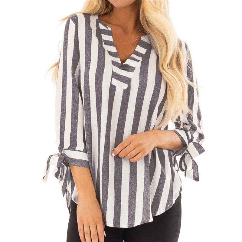 8d217199c1b Для женщин Повседневное полосатый v-образным вырезом три четверти рукав  повязки блузка рубашка Blusas Mujer
