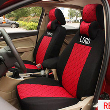 цена на grey/red/black silk Material Embroidery logo Car Seat Cover For Mitsubishi Pajero OUTLANDER EX Lancer Galant FORTIS with pillows