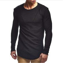 цена на 2019New T Shirt Men Autumn Casual Solid Round Neck Hip Hop Tshirt Fashion Long Sleeve Streetwear Male Boy T-shirt Plus Size 3XL