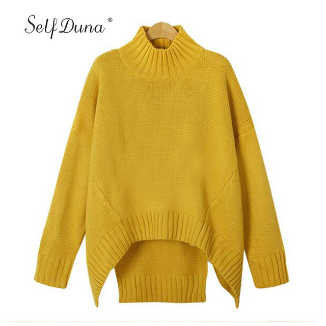 Self Duna 2017 Autumn Winter Plain Turtleneck Sweater Women Yellow ...