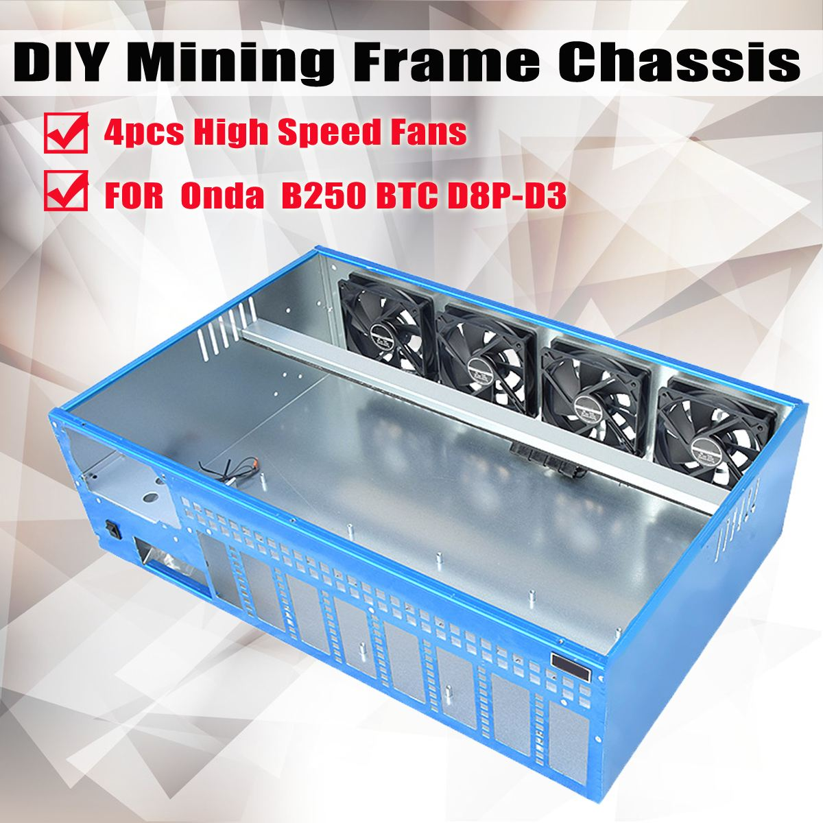 8GPU DIY Mining Frame Chassis PC Case Computer Case With 4 fans For Onda B250 BTC D8P-D3 Motherboard Computer Parts купить в Москве 2019