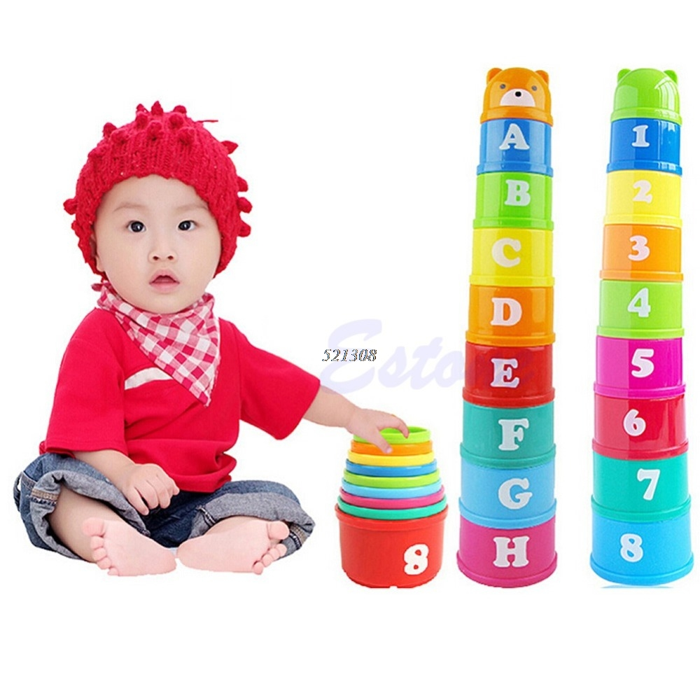 Excellent Baby Children Kids Educational Toy New Building Block Figures Letters Folding Cup Pagoda Gift 9Pcs/set A9757 12pcs set children kids toys gift mini figures toys little pet animal cat dog lps action figures