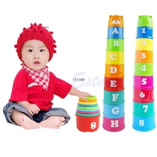Excellent Baby Children Kids Educational Toy New Building Block Figures Letters Folding Cup Pagoda Gift 9Pcs