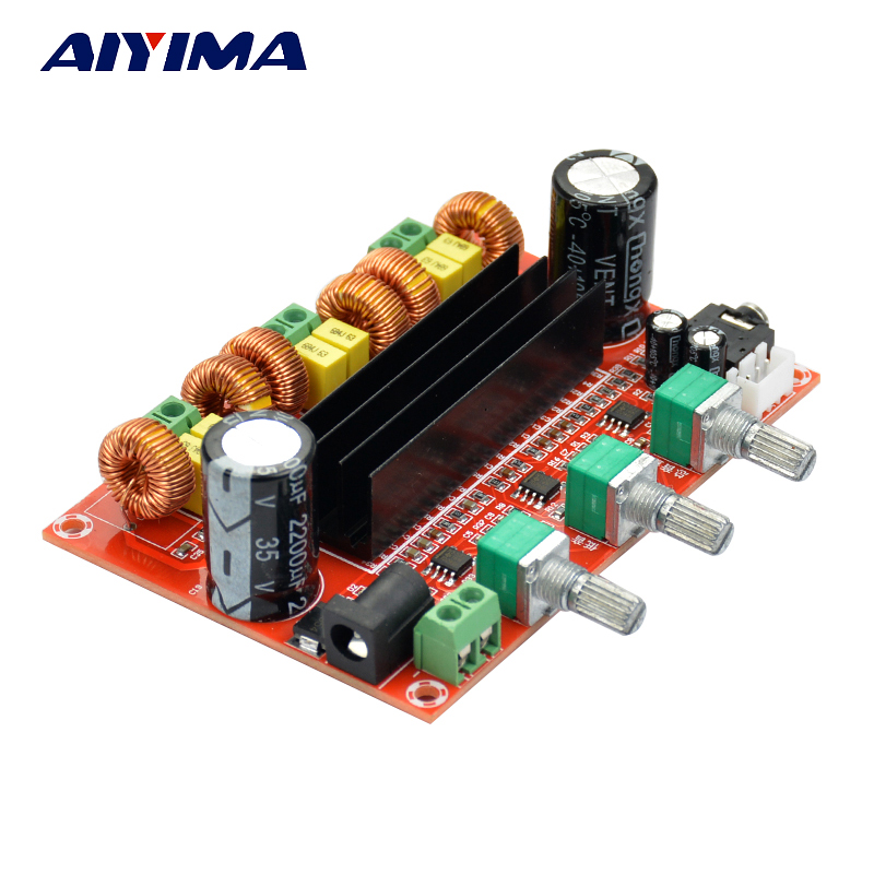 Aiyima TPA3116 2.1 Digital Audio Amplifier Board TPA3116D2 Subwoofer Speaker Amplifiers DC12V-24V 2*50W+100W lusya tpa3116 2 1 channel high power bluetooth digital audio amplifier board tf card usb subwoofer speaker amplifiers 2 50w 100w