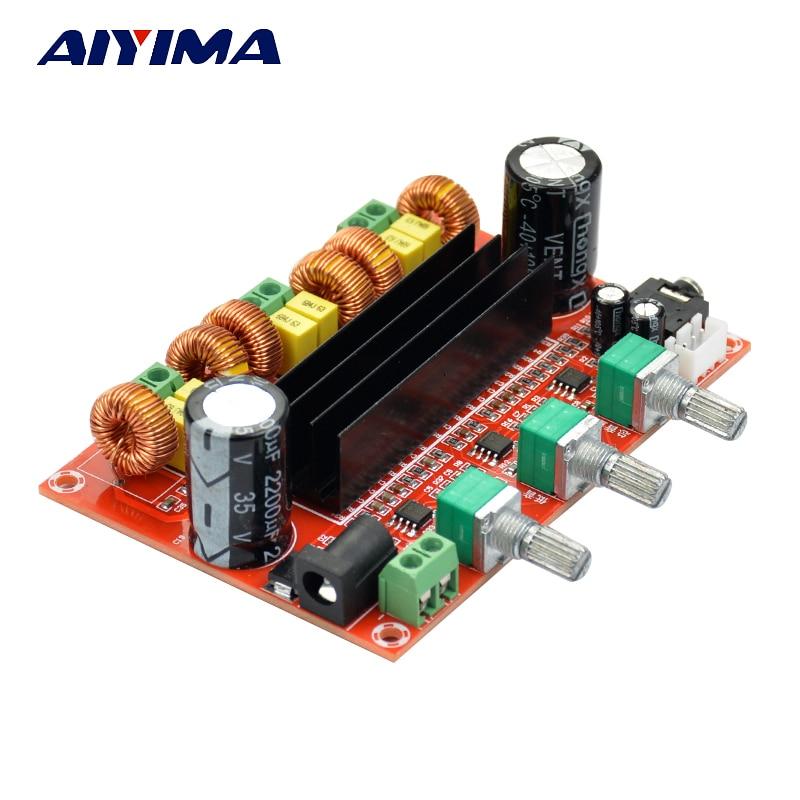Aiyima TPA3116 2.1 audio digital Amplificadores tablero TPA3116D2 altavoz subwoofer Amplificadores DC12V-24V 2*50 W + 100 W