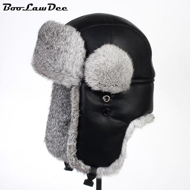 BooLawDee Nero lavato acqua in pelle cappello di pelliccia del coniglio con  volare paraorecchie maschio femmina 8904ee35cada