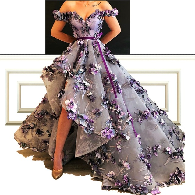 New Arrival Elegant A Line Celebrity Dresses With Flowers And Sash Off Shoulder Luxury Red Carpet Reception Runaway Dresses