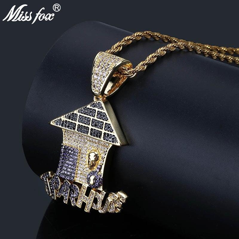 MISSFOX Hip Hop Overlapping Trap House Rap Necklaces Pendants 24K Gold Plated AAA Purple Pure Black CZ Stone Probe Head Neclace